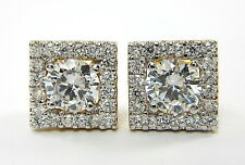 CLASSY CZ STUD EARRINGS 22K Yellow & 18K White Gold GP Baht Thai Jewelry