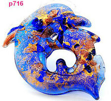 blue handmade Dolphin lampwork Murano art glass beaded pendant necklace p716
