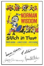 NORMAN WISDOM - A STITCH IN TIME - CAST SIGNED (PRE PRINTED) A4 POSTER