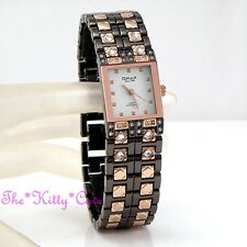 Omax Ladies Gunmetal Rose Gold PLT Waterproof SS Seiko Movt Crystal Watch JES004