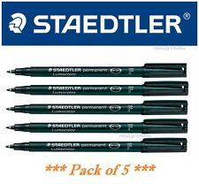 Staedtler Lumocolor Permanent Marker Pen Black - Fine Tip Marker - Pack of 5