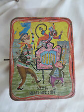Vintage Mattel Merry Music Box Windup Monkey Organ Grinder Tin Works!