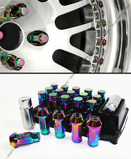 NEO CHROME R-STYLE CLOSE END EXTENDED WHEEL LUG NUTS+LOCK & KEY FITS MITSUBISHI