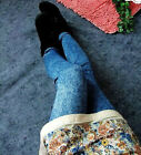 SEXY WOMENS DENIM LOOK LEGGINGS JEANS JEGGINGS STRETCHY SKINNY FULL LENGTH PANTS