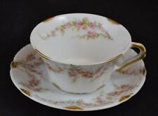 Theodore Haviland Schleiger 145C Oversized Cup and Saucer Gold Rose Swags #5
