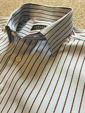 GORGEOUS CANALI BABY BLUE / BROWN BENGAL STRIPE SHIRT 16 COLLAR EU 41 COST £150