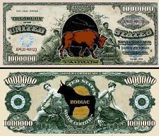 Taurus Zodiac Million Dollar Bill Fake Funny Money Novelty Note