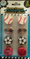 8 Pack Sports Baseball Basketball Football Soccer School Toy Eraser Toppers NIB