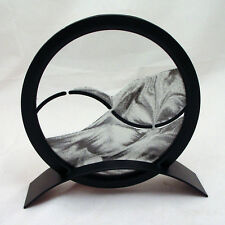 New Black & White Round Ying Yang Adjustable Sand Picture with Metal Stand 6""