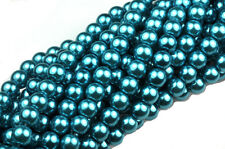 70 Deep Teal Glass Pearl Round Beads 6MM LIMITED