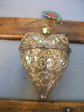 "NWT 3.5"" GOLD Scroll Glitter Mercury GLASS Hinged HEART Box CHRISTMAS Ornament"