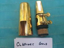 USED GLOD STAR METAL AND PLASTIC CLARINET MOUTHPIECE / LIGATURE AND CAP
