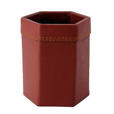 Genuine Leather Pen Holder Stand Office Desk Organizer Stationery Cup Brown