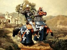 """Hand Painted Mounted Medieval Crusader Knight Figure Realistic Gift 12cm/4.72"""""""