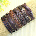 6 pcs Mens Real Leather Bracelet Wristband Surfer Tribal Brown Adjustable-D49