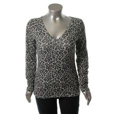 Famous Catalog Gray Knit Animal Print V-Neck Pullover Top Shirt XL - NEW