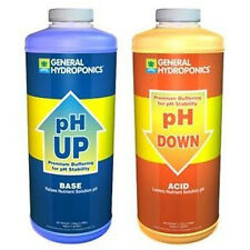 General Hydroponics pH Up & Down 1 Quart 32oz each - water pH adjuster buffer