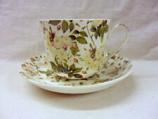 Large size breakfast cup and saucer in white rose design