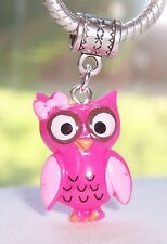 Pink Resin Owl Girl Purple Bird Dangle Bead fits Silver European Charm Bracelets