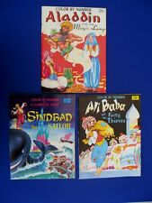 1960s  ALADDIN, SINBAD & ALI BABA COLOR BY NUMBER/ACTIVITY BOOK LOT (3) **NICE**