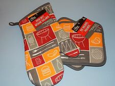 New 3pc Lot Gift Kitchen Grilling BBQ Outdoor Camping Pot Holders & Oven Mitt