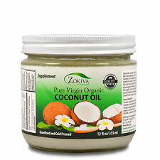 Coconut Oil 100% Pure Organic Raw Virgin Unrefined Cold Pressed - Glass Jar 12oz