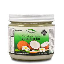 Coconut Oil 100% Pure Organic Raw Virgin Unrefined Cold Pressed - Glass Jar 12oz