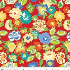 Penny Rose Mary Mulari Church Ladies Aprons Quilt Fabric Retro Floral Red 1/2Y