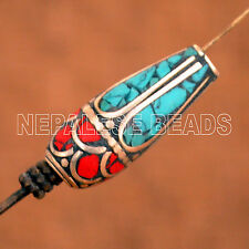 BD2777 Turquoise Coral 1 Bead Large Hole Silver Plated Nepalese Tibetan Nepal