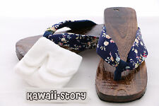 K-G-04 Geta blau blue Japanese Wood Sandal Socks for Kimono Yukata 9 3/5in/