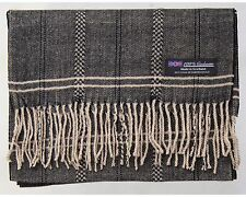 100% Cashmere Scarf Brown Beige Flannel Check Plaid Soft Scotland Wool R61 Men