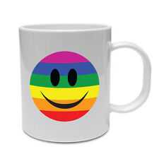 GAY PRIDE FLAG WITH SMILEY FACE - LGBT / Funny / Gift Themed Ceramic Mug