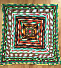 Handmade Mennonite Crocheted Knit Colorful Afghan Blanket Throw 51x47