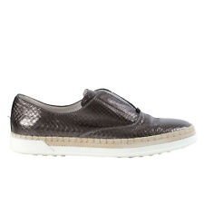 40818 auth TOD'S metallic dark silver SNAKESKIN leather Boat Sneakers Shoes 38.5