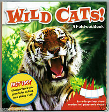 WILD CATS! Fast Fact Fold-Out Panoramic View 18pg Reference Book for Kids Age 5+