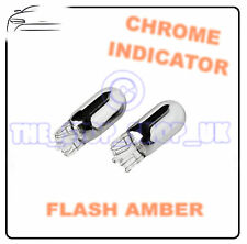 2x Chrome Indicator Bulbs T20 W21W Side Repeater Flash Amber