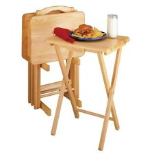 5 Piece Tray Table Set Wooden TV Card Game Laptop Snack Craft Dinner Serving NEW