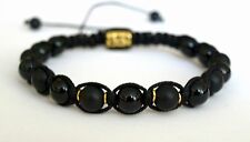 8mm Men's Shungite matte  Onyx Beads Shamballa Macrame Adjustable Bracelet