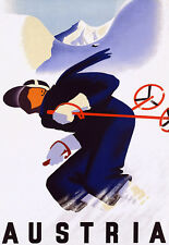 Austria Skiing Ski - Deco Man Downhill - Travel Vacation A3 Art Poster Print