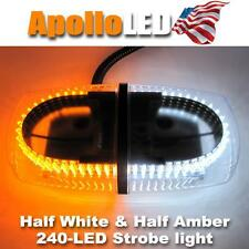 Half White Half Amber Emergency 240 LEDs Safety Plow Strobe LED Light Bar F1AW