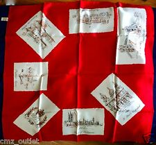 "1977 The Queen's Silver Jubilee Scarf - Red - Made in Italy - 26"" - Royal Family"