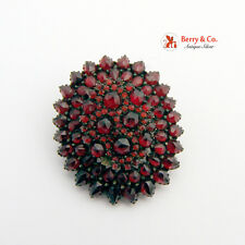 Antique Victorian Rose Cut Bohemian Garnet 9K Gold Locket Brooch Pendant