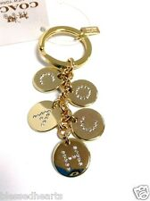 COACH Key Chain Ring Gold Letters Crystal Charm Mix Authentic 69939 NWT $68