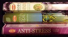 SOOTHING SPA Lavender Anti-Stress 60 HEM Incense Sticks 3 Scent Sampler Gift Set