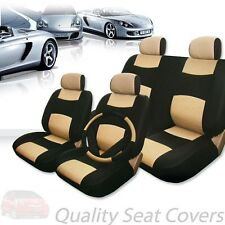PREMIUM BLACK TAN SYNTHETIC LEATHER CAR SEAT STEERING COVERS SET FOR HONDA
