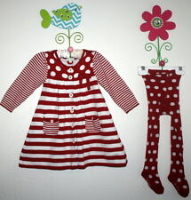 LE TOP Boutique Red White Stripes Polka Dot Sweater Dress Tights Girl 24 Months