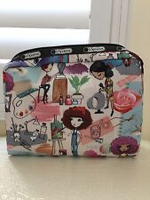 Authentic New LeSportSac Extra Large Rectanular ART SCHOOL Cosmetic Made Up Bag