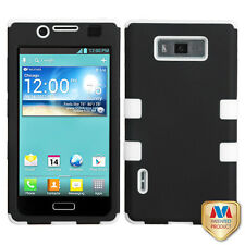 For LG Optimus Showtime L86c Rubber IMPACT TUFF HYBRID Case Cover Black White