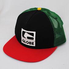Globe Etched Logo Rasta Maille Snapback camionneur vert noir rouge plat pic hat cap