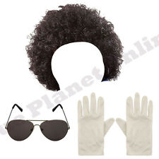 MENS MICHAEL JACKSON AFRO WIG GLASSES WHITE GLOVES BILLIE JEAN FANCY DRESS